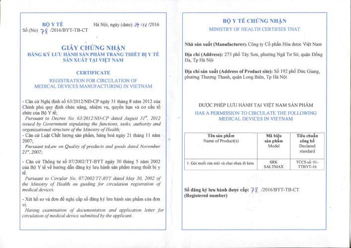 Giấy phép lưu hành sản phẩm SRK Saltmax