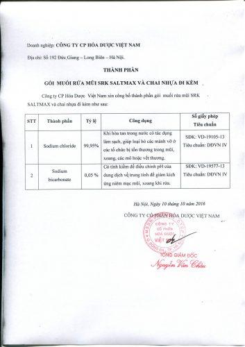 Thành phần đạt chuẩn SRK Saltmax